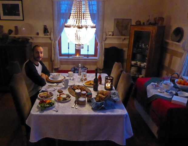 dining room with guest